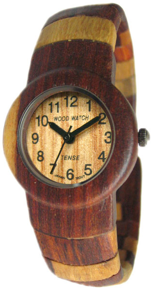 Tense Wooden Watch - Womens Dual-tone Sandalwood Bangle Watch - DISCONTINUED