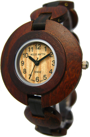 Tense Wooden Watch - Women's Round Sandalwood/ Dark Sandalwood Watch
