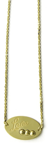 "Officina Bernardi - Foglia Collection - 16"" + 2"" Gold Plated Love Necklace - Italian 925 Sterling Silver"