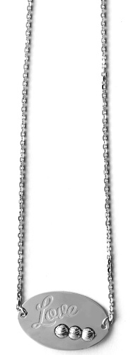 "Officina Bernardi - Foglia Collection - 16"" + 2"" White Love Necklace - Italian 925 Sterling Silver"