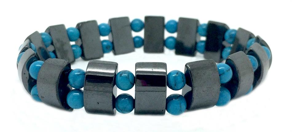 Simulated Turquoise & Hematite Double - Magnetic Therapy Bracelet (MHB-2T)
