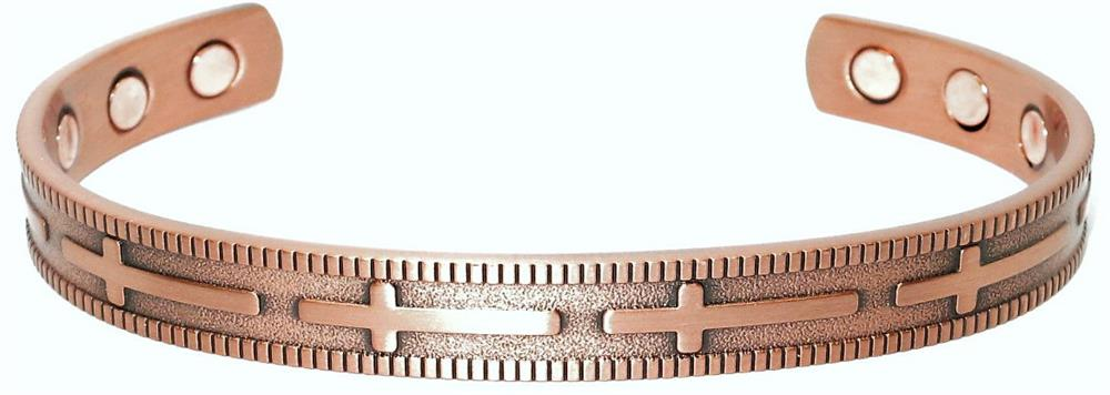 Crosses - Solid Copper Magnetic Therapy Cuff Bracelet (MBG-026)