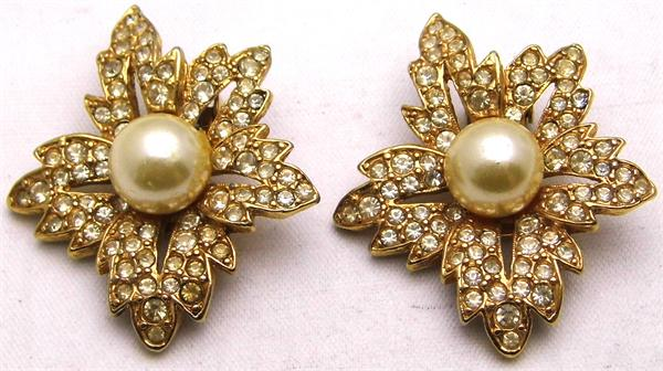 Flower Faux Pearl CZ Gold Plated Clip On Earrings - Vintage / Estate Collection - SOLD