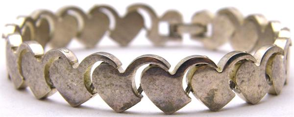 Sterling Silver Hearts Link Bracelet  - Vintage / Estate Collection - SOLD