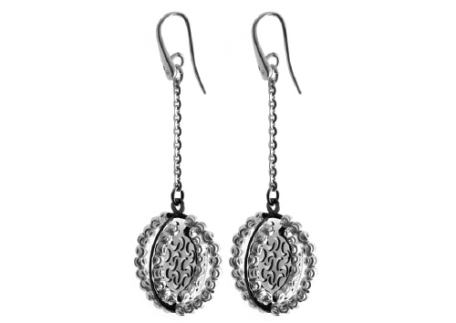 Officina Bernardi - Orbit Collection - Black Oval Dangle Earrings - Italian 925 Sterling Silver