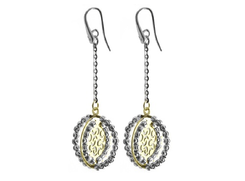 Officina Bernardi - Orbit Collection - Gold Plated Oval Dangle Earrings - Italian 925 Sterling Silver
