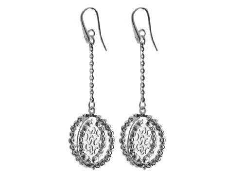 Officina Bernardi - Orbit Collection - Oval Dangle Earrings - Italian 925 Sterling Silver