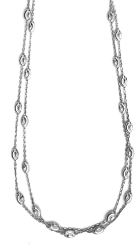 "Officina Bernardi - Foglia Collection - 16"" Two-Strand Multi-Bead Necklace (3 Color Choice) - Italian 925 Sterling Silver"