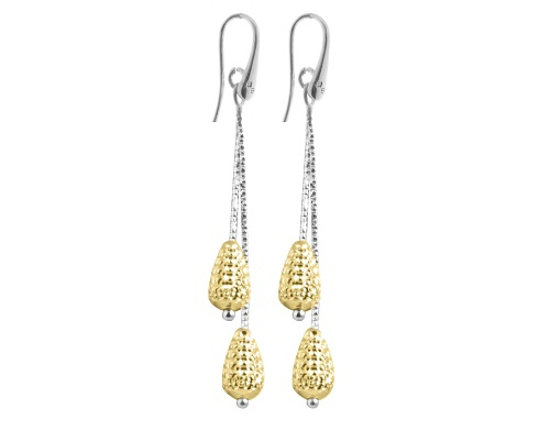 Officina Bernardi - Galaxy Collection - Double Yellow Pear Teardrop Earrings - Italian 925 Sterling Silver