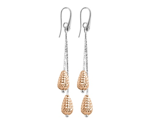 Officina Bernardi - Galaxy Collection - Double Pink Pear Teardrop Earrings - Italian 925 Sterling Silver