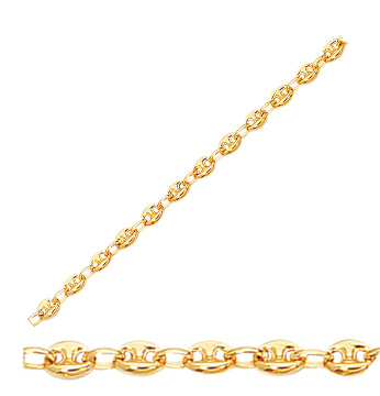 "18"" 14K Yellow Gold 4.7mm (3/16"") Polished Diamond Cut Puffed Marina Chain w/ Lobster Clasp"