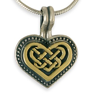 "14K Gold & Sterling Silver Heart Knot Pendant w/ 18"" Snake Chain - DISCONTINUED"