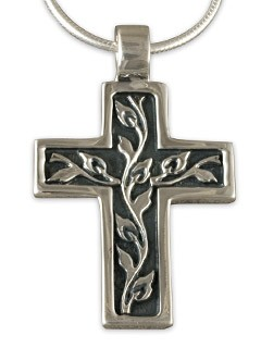 "Vine Design Cross Pendant with 18"" Box Chain - DISCONTINUED"