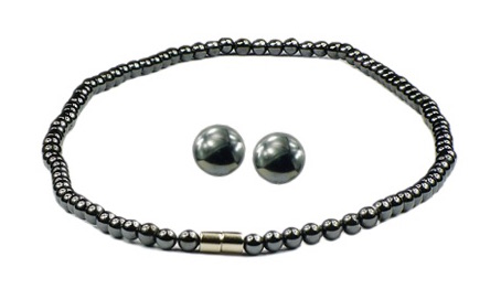 Hematite Classic Set - Magnetic Therapy Necklace and Earring Set