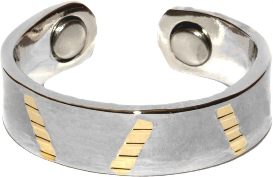 Golden Stripe - Gold Plated Magnetic Therapy Ring (R06)