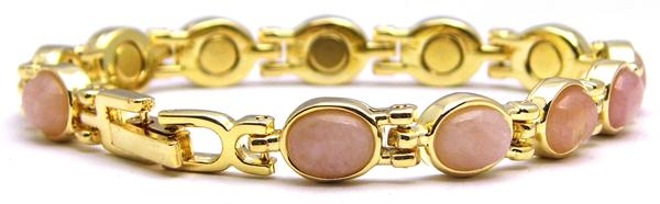 Simulated Rose Quartz - Magnetic Therapy Bracelet (RQ-SP)
