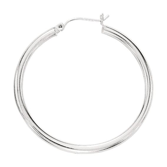 "14K White Gold Polished 2.0x50mm (0.08""x1.97"") Round Tube Hoop Earrings"
