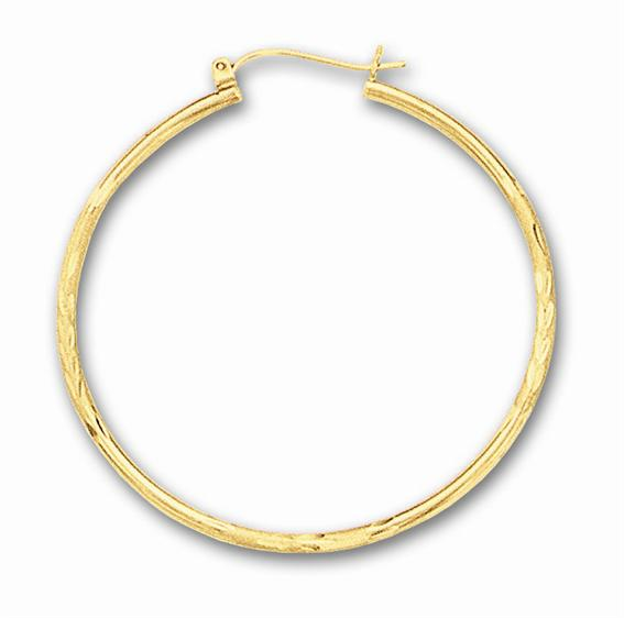 "14K Yellow Gold Polished 2.0x45mm (0.08""x1.77"") Fancy Diamond Cut Round Tube Hoop Earrings"