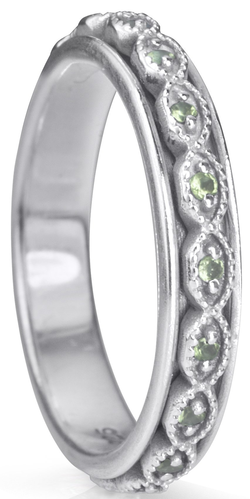 """RENEW"" (MR4408) - Stackable Collection - with Semi-Precious Peridot - MeditationRing (Spinner Ring)"