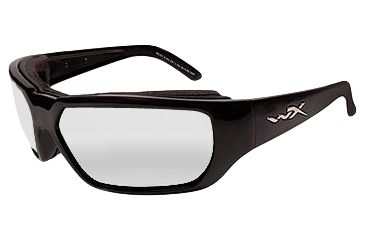 Wiley X Sunglasses - Rout Gloss Black with Clear Lens - Climate Control Series - DISCONTINUED