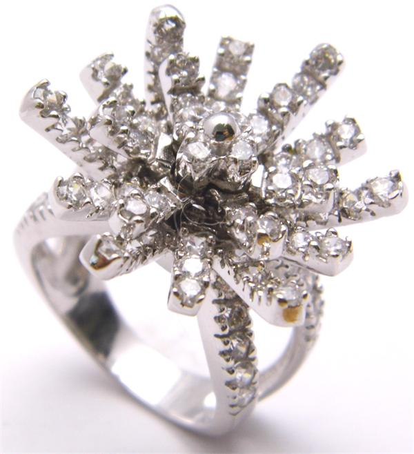 Size 9 Clear CZ and Sterling Silver Sputnik Ring - Vintage / Estate Collection - SOLD