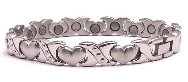 Diamond Heart - Stainless Steel Magnetic Therapy Bracelet