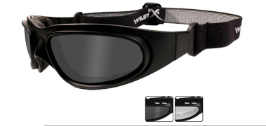 Wiley X Sunglasses - SG-1 Matte Black with V-Cut  Smoke Grey/Clear Lens - Goggles Series