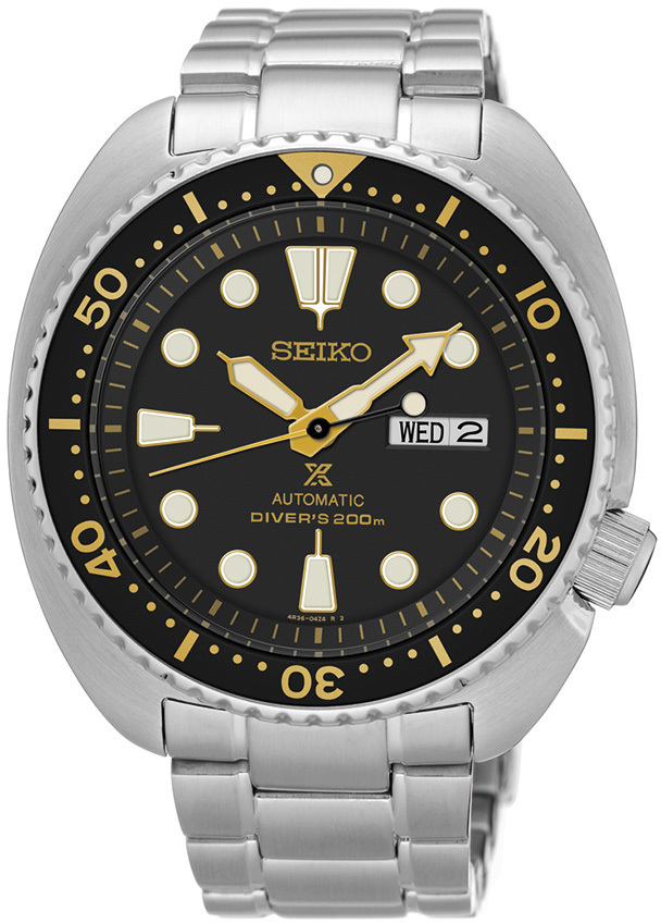 "Seiko Prospex ""Turtle"" Automatic Diver 200M Black & Yellow Dial SRP775 - Mens Watch"