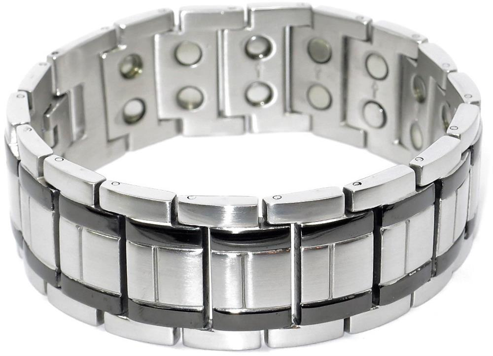 Straight Forward (two 5,000 gauss) - Stainless Steel Magnetic Therapy Bracelet (SS2525002)