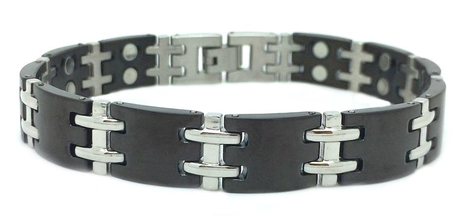 Black H 5K (two 5,000 gauss) - Stainless Steel Magnetic Therapy Bracelet (SS5K)