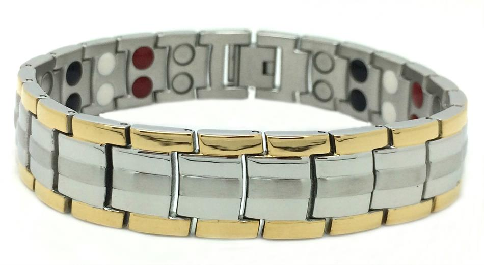 Mens 4-in-1 Two Tone - Stainless Steel Magnetic Therapy Bracelet (FWM-2)
