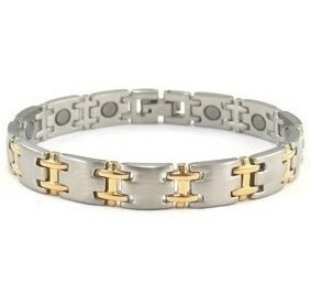 Mini Golden H - Gold Plated Stainless Steel Magnetic Therapy Bracelet (SSB-069)