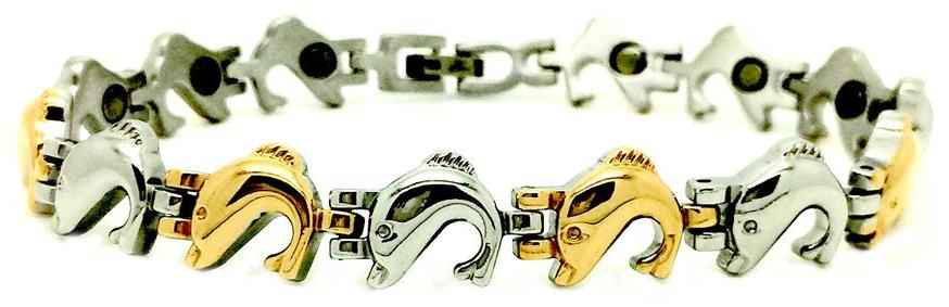 Jumping Dolphins - Stainless Steel Magnetic Therapy Bracelet
