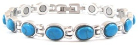 Simulated Turquoise Ovals Gemstone - Stainless Steel Magnetic Therapy Bracelet (CSS-305)