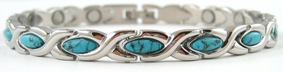 Simulated Turquoise XOXO - Stainless Steel Magnetic Therapy Bracelet (CSS-308)
