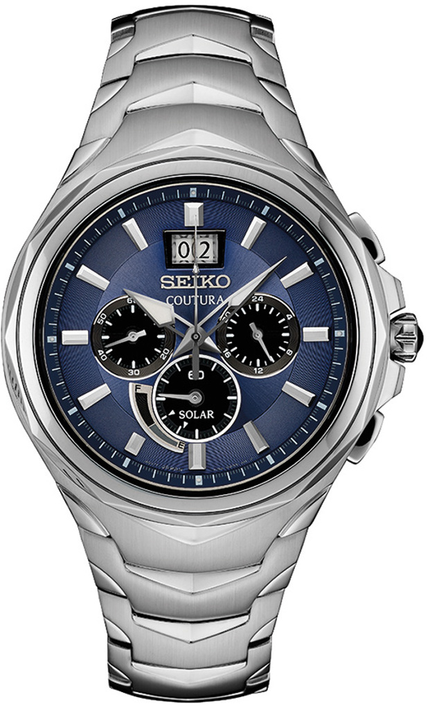 Seiko Coutura Solar Chronograph w/ Silicone Strap 45.5mm SSC641 - Mens Watch