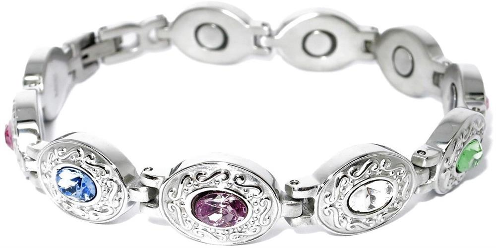 Exquisite Medley Stainless Steel - Magnetic Therapy Bracelet (HL0611GSM7-S) - New!