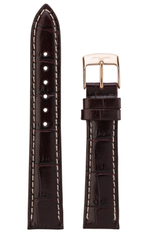 Jorg Gray JG6500-22 Replacement Watch Strap - Brown Alligator Pattern Leather w/ White Stitching