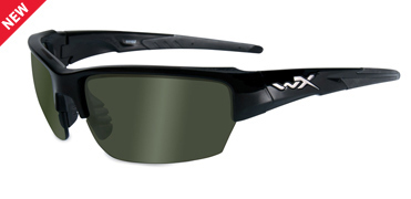 Wiley X Sunglasses - Saint Gloss Black with Polarized Smoke Green Lens - Changeable Series
