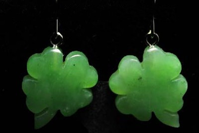 Jade Shamrock Dangle Earrings (UJKK-2637)