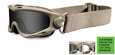 Wiley X Sunglasses - Spear Tan with Smoke Grey/Clear Lens & RX Insert -  Goggles Series