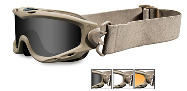 Wiley X Sunglasses - Spear Tan with Smoke Grey/Clear/Rust Lens & RX Insert -  Goggles Series