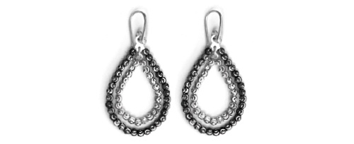 Officina Bernardi - Teard Collection - Dual Black & White Earrings - Italian 925 Sterling Silver