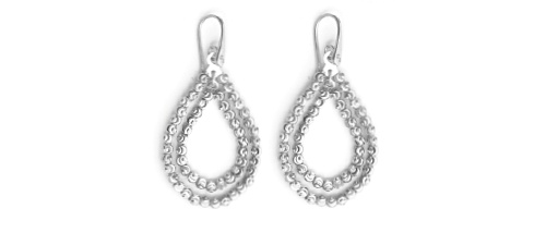 Officina Bernardi - Teard Collection - Dual White Earrings - Italian 925 Sterling Silver