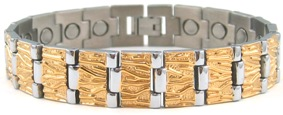 Gold - Gold Plated Titanium Magnetic Therapy Bracelet (CTT-015) - DISCONTINUED