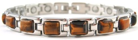 Simulated Tiger Eye Gemstone - Titanium Magnetic Therapy Bracelet (CTT-304) - DISCONTINUED
