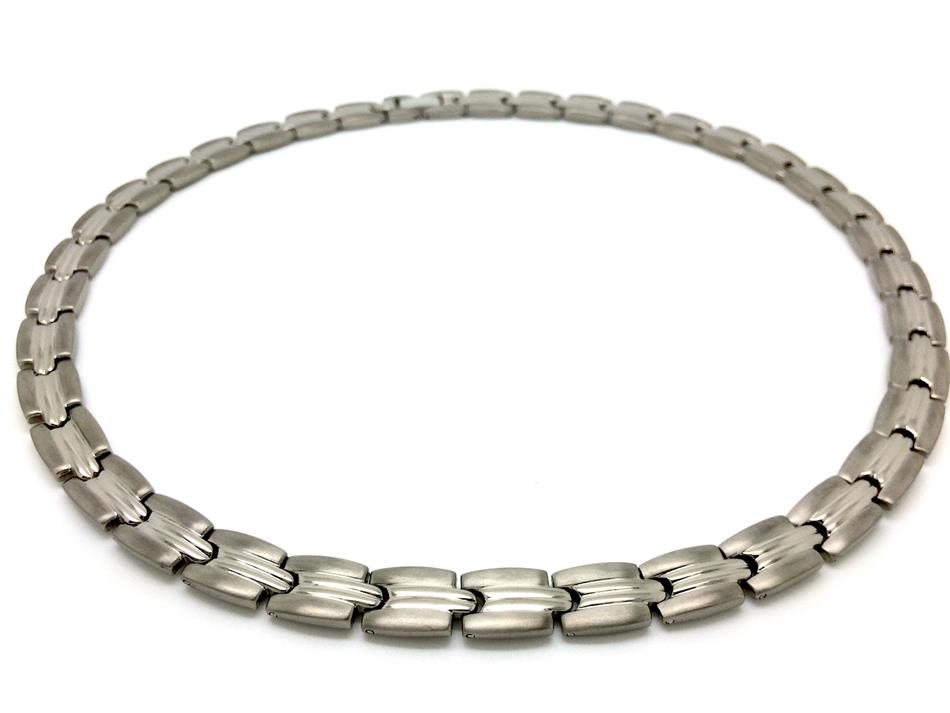 "18.5"" Silvertone Grooves Titanium Magnetic Therapy Necklace (TTN-02)"