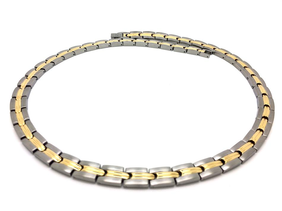 "22"" Yellow Bars Silver & Gold Plated Titanium Magnetic Therapy Necklace (TTN-05)"
