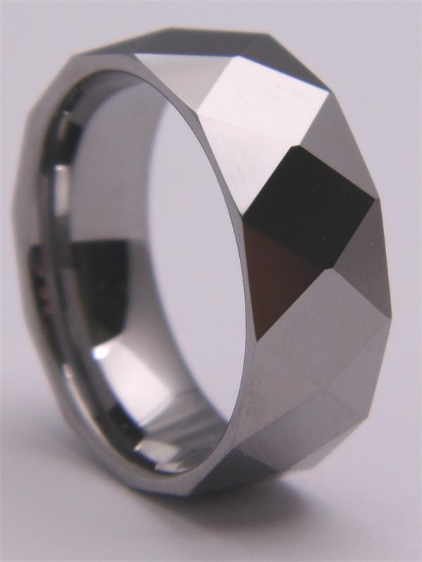 Tungsten Carbide Ring with Diamond Pattern