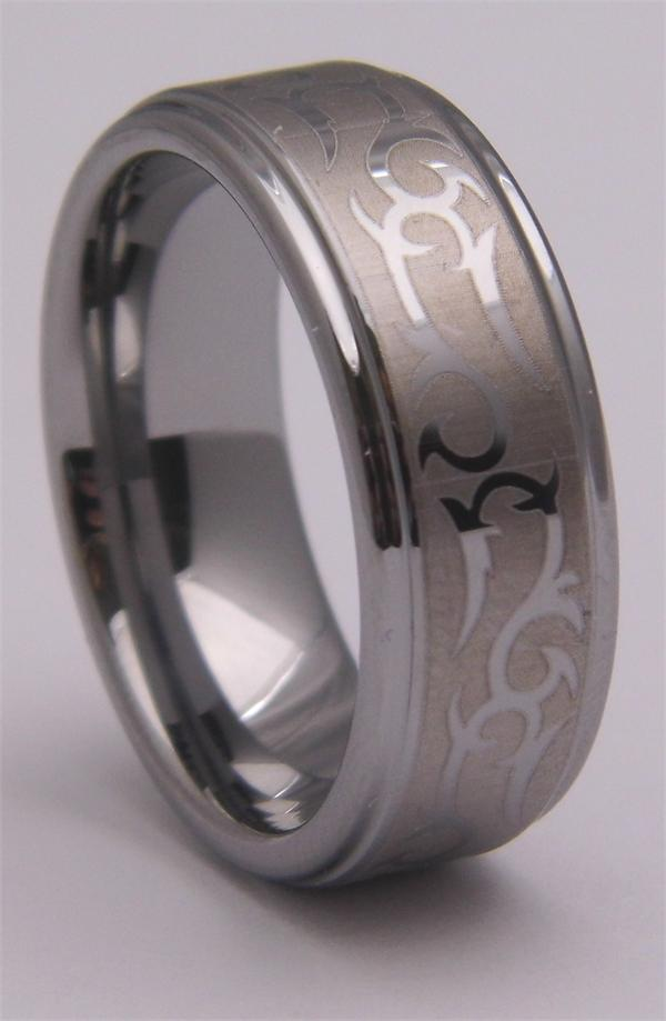Tungsten Carbide Ring with Patterned Matte Finish